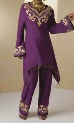 Ashro Purple Gold Beaded Ethnic African American Pride Jabira Pant Set Size 10