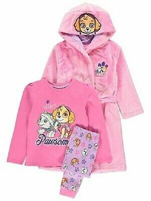 Girls PAW Patrol Skye Pink Pyjamas and Dressing Gown 3-piece Set  7-8 years