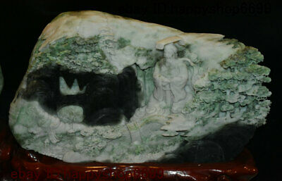 China Dushan Yu Jade Stone Carved First Emperor of Qin Pine Tree Mountain Statue