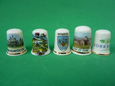 Vtg Sewing Thimble Lot of 5 Bone China Porcelain England Collectible Souvenir