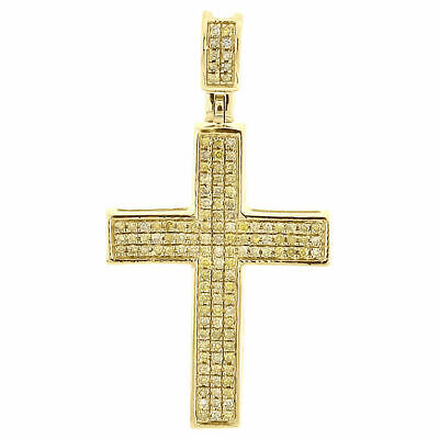 Yellow Diamond Praying Hands Pendant Mens 10K Gold Round Pave Charm 0.16 Tcw.