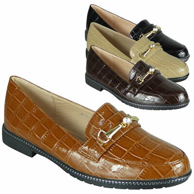 Womens Loafers Ladies Pumps Croc Slip On Flats Work Office School Comfy Shoes