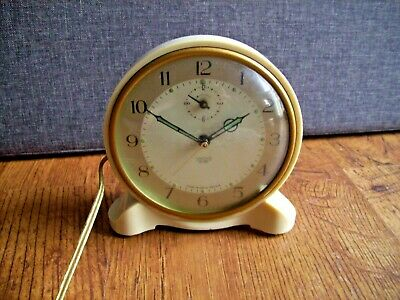 Vintage Smiths Sectric Cream Bedside Alarm Clock (Glow in the Dark Numbers Time)