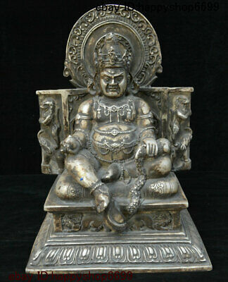 Old Tibet Buddhism Silver Mammon Wealth God Yellow Jambhala Buddha Animal Statue