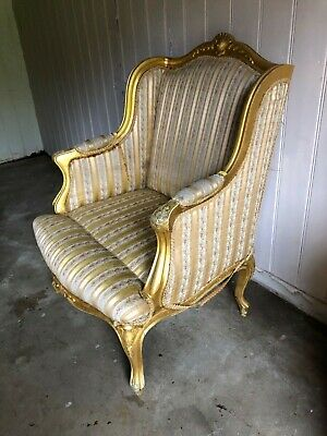 French Gilt Armchair Louis XVI Style Carved Wood Striped Upholstery