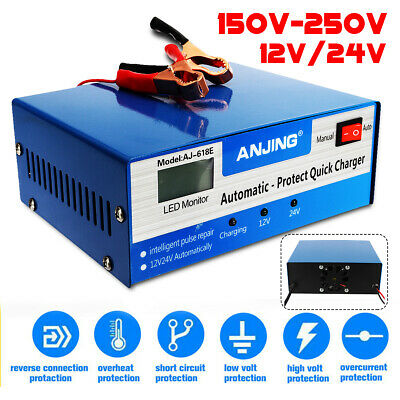 Car Battery Charger 12V/24V Intelligent Automatic Pulse Repair lead acid Starter