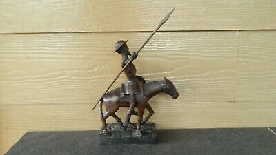Ouro Artesania Spain Don Quixote Wood Carving On Horse