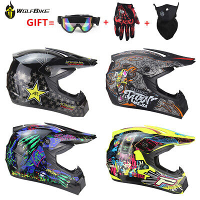 Motorcycle Helmet Dirt Bike Downhill Racing Safety Helmet Gift Goggle Glove Mask