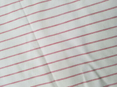 "VTG* Cotton red stripe ticking/cotton fabric* med/heavy weight* 3.5 yards* 62"" W"