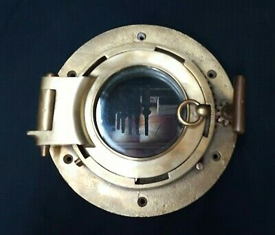 Solid Brass & Glass Porthole With Gear Opening