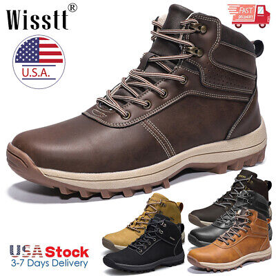 Men's Winter Snow Work Boots Waterproof Leather Outdoor Martin Boots Ankle Shoes