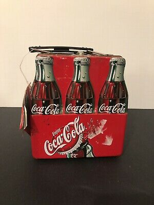 Coca Cola Six Pack Bottle Tin Lunch Box 2001 With Tags - There Is Rust Inside