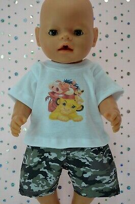 """PlaynWear Boys Dolls Clothes For 17"""" Baby Born CAMOUFLAGE SHORTS~WHITE T-SHIRT"""