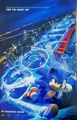 Sonic Hedgehog  2019 Advance Double Sided Original Movie Poster 27x40