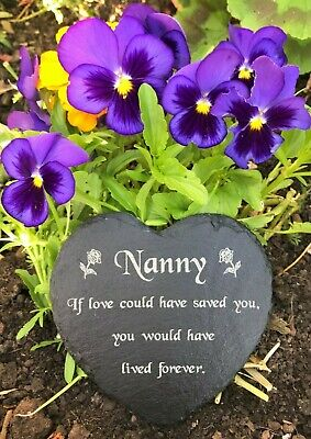 Natural Slate Heart Memorial Grave Marker Stone Plaque Engraved for Nanny Nan