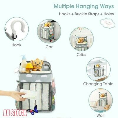 Baby Hanging Diaper Caddy Organizer Diaper Stacker Bag for Changing Table