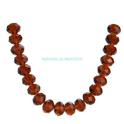 Spacer Wholesale Beads DIY Faceted Lots 4-14mm Making Deep Topaz Glass Rondelle