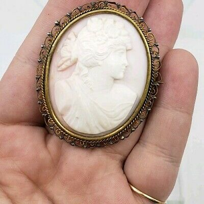 Antique Victorian Edwardian Large Carved Cameo Shell Brooch Pin