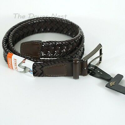 """DOCKERS Men's SMALL 30-32 BROWN BRAIDED Faux Leather BELT Expands Up 2"""" STRETCH"""