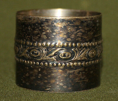 Antique hand made silver plated napkin ring
