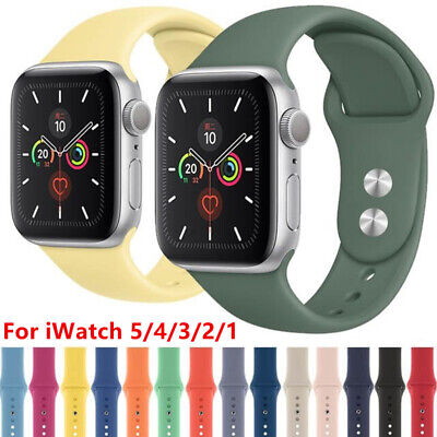 For Apple Watch iWatch Series 5 4 3 2 1 Soft Silicone Sport Strap Bracelet Band