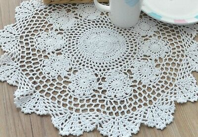 Round Crochet Lace Round Doily Table Runner Rustic White French Country Wedding
