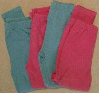 Cotton Kids Leggings Lot Girls Size 6 Lot of 4 Pink Blue