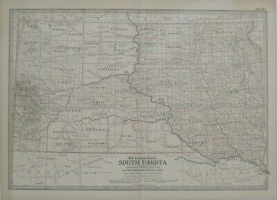 Original 1897 Map SOUTH DAKOTA Indian Reservations Rapid City Pierre Railroads