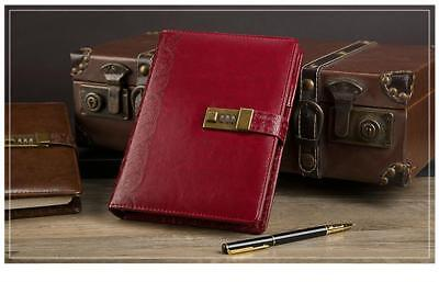 Diary Vintage Leather Notebook with Lock Retro Planner Agenda Notes A5 Journal