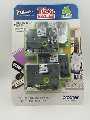NEW Genuine BROTHER 4 Pack TZe-231 - 12mm x 8m Black on White P-Touch TZ Tape