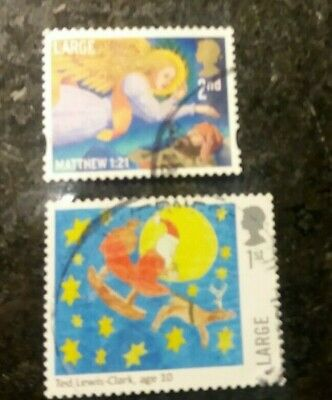 Great Britain 2011 Christmas 2nd Class stamp Large used plus 2017 1st large