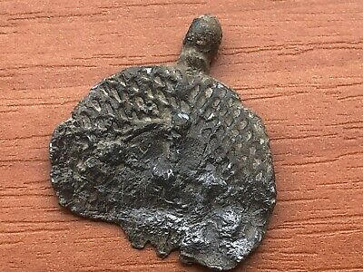 Ancient Byzantine Medieval Lead Buckle with Cross Circa 600-800 AD Very Rare