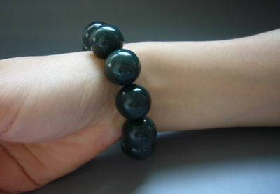 18mm big beads Natural Chinese hetian jade round bead bracelet bangle 天然和田玉手鏈