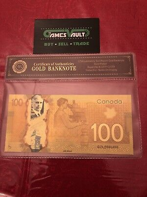 24KT Gold plated $100 Canada bill banknote - FREE SHIPPING&FAST - ON SALE