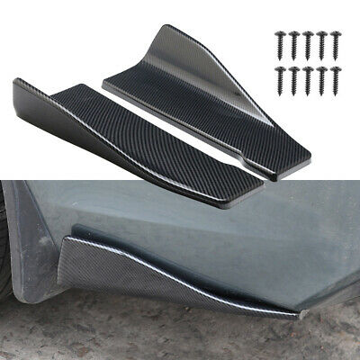 1Set 35cm Universal Car Carbon Fiber Side Skirts /Rear Bumper Lip Strip Splitter
