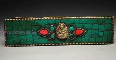 BUDDHIST BRONZE VAJRA INLAY TURQUOISE CORAL PHARAOH EXORCISM STATUE & BOX bh39