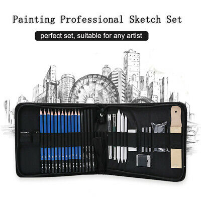 Professional Sketch Pencil Set Drawing Art Charcoal Pencil Eraser Utility Knife