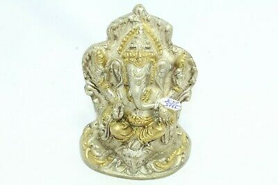 God Ganesha sitting statue idol gold white brass figure Home Decorative Gift