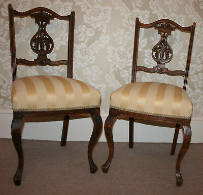 Pair Antique Occassional Chairs Chippendale Solid Wood Hand-Carved Gold Fabric