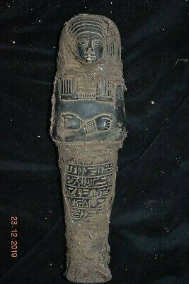 "Sale!! Egyptian Crypt Linen Wrapped Stone Mummy 12"" Prov"