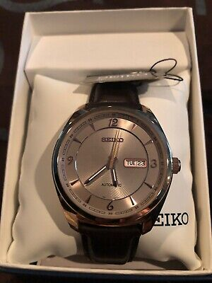 Seiko Recraft Mens Grey Dial Day Date Brown Leather Strap Automatic Watch SNKN72