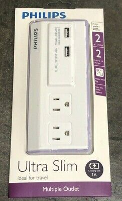 Philips Ultra Slim Multiple Outlet with 2 AC outlets and 2 USB Ports-New in Box