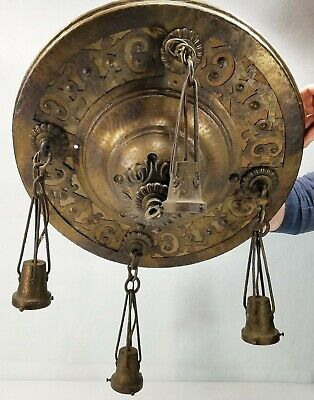 Large Antique Arts & Crafts Ceiling Fixture Hand Hammered Brass Copper Plated