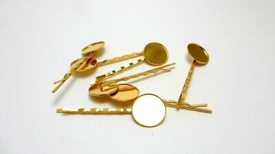 2 Bobby tie hair pin cabochon blank settings gold tone plated 18 mm round tray
