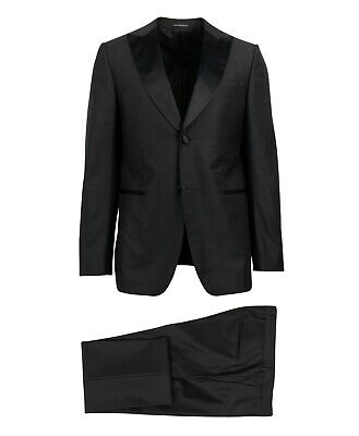 NWT Z ZEGNA Black Wool Two Button Tuxedo Suit Size 48/38 R Drop 7 $1295