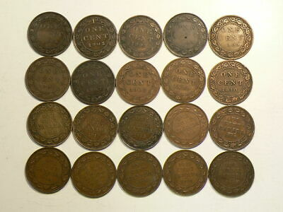 1901 to 1920 Canada Large Cents Lot of 20 Coins #3389