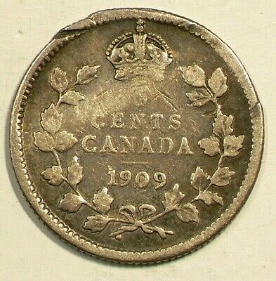 1909 Canada Silver 5 Cents Round Leafs Cross over Bow Tie #3392