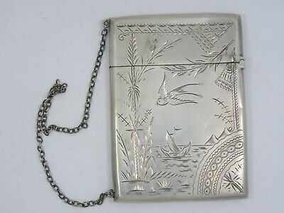 """ANTIQUE CHASED STERLING SILVER CALLING CARD WITH WRIST CHAIN ~ 41g / 3.25"""""""