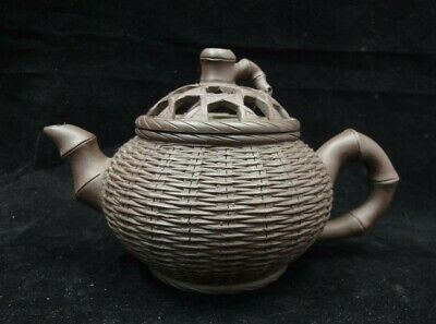 Old Chinese Zisha Pottery Hand Carving Bamboo Basket Teapot Mark