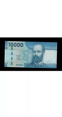 CHILE 10000 PESOS Banknote. Chilean 10000 Circulated Banknotes. Single Note